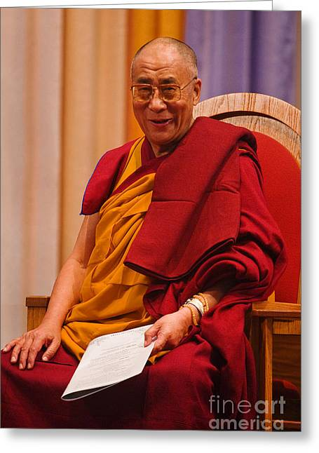 Buddhist Monks Greeting Cards - Smiling Dalai Lama Greeting Card by Craig Lovell