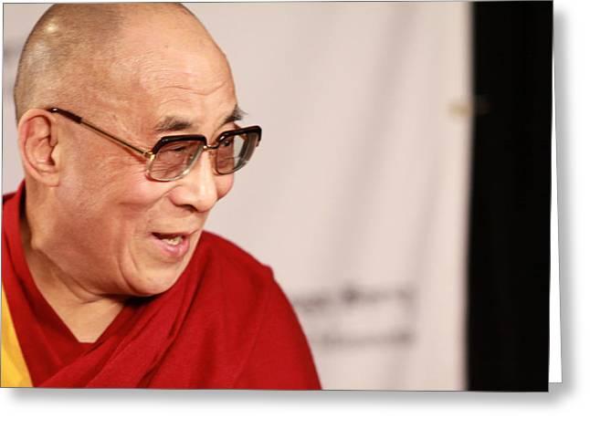 Smiling Dalai Lama Greeting Card by Kate Purdy