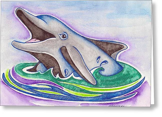 Ocean Mammals Mixed Media Greeting Cards - Smiling Dolphin Greeting Card by Lori Nadaskay