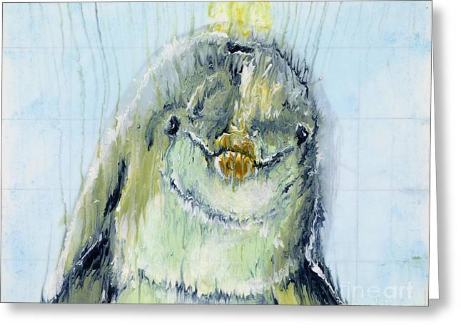 Ocean Mammals Mixed Media Greeting Cards - Smiling Dolphin Greeting Card by Scott Lindner