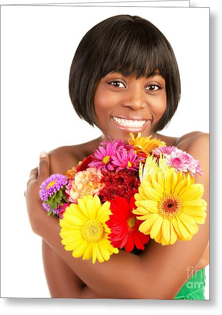 African-american Photographs Greeting Cards - Smiling female with fresh flowers Greeting Card by Anna Omelchenko