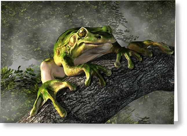 Amphibians Digital Art Greeting Cards - Smiling Frog Greeting Card by Daniel Eskridge
