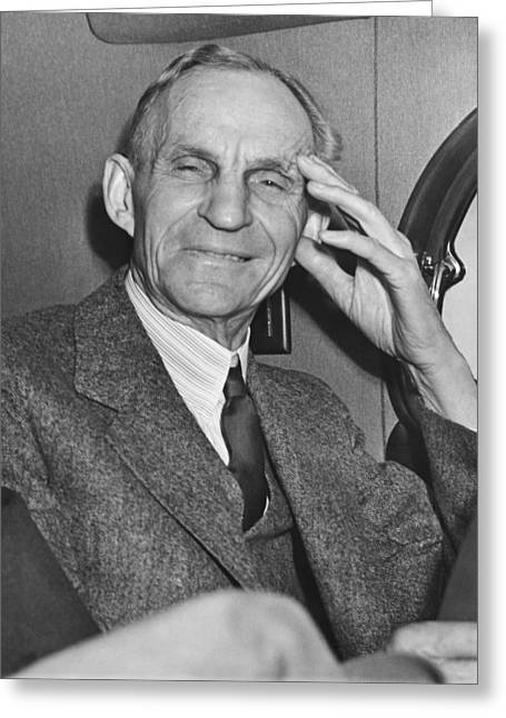 Smiling Henry Ford Greeting Card by Underwood Archives