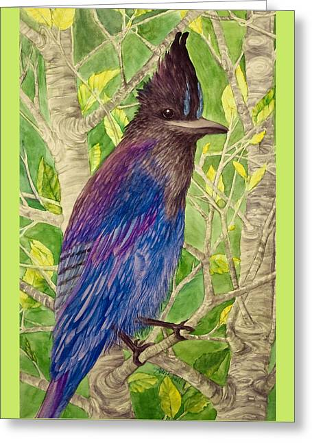 Stellar Paintings Greeting Cards - Smiling Jay Greeting Card by Adria Trail