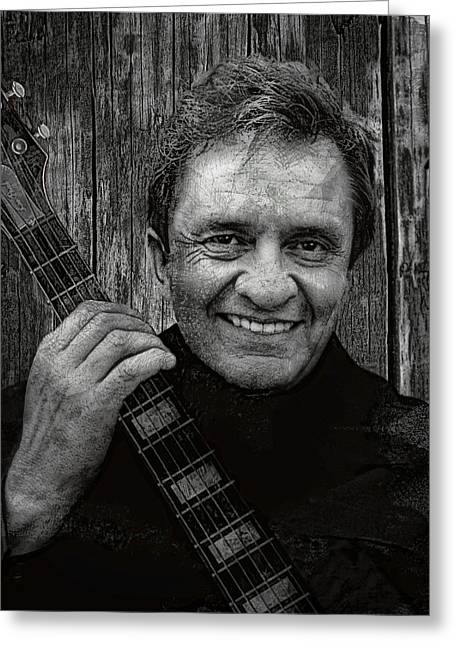 Rockabilly Digital Art Greeting Cards - Smiling Johnny Cash Greeting Card by Daniel Hagerman