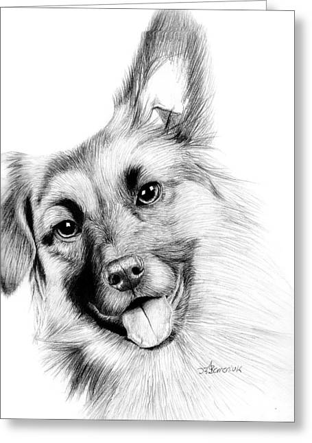Puppies Drawings Greeting Cards - Smiling Puppy Greeting Card by Kayleigh Semeniuk