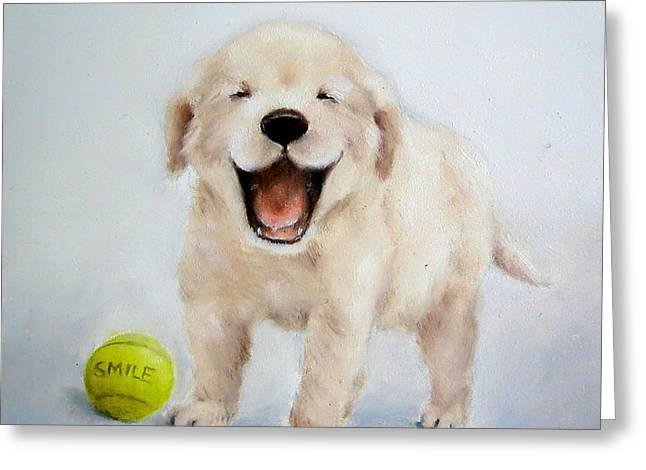 Puppies Paintings Greeting Cards - Smiling Puppy Nursery Art Greeting Card by Junko Van Norman