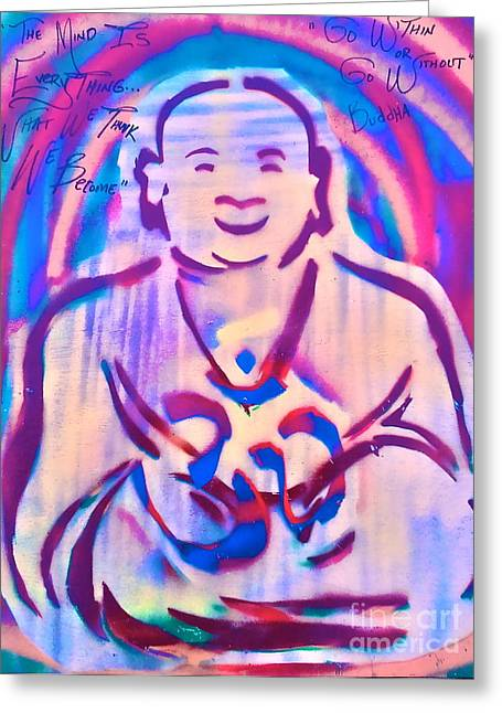 Metaphysics Greeting Cards - SMILING purple BUDDHA Greeting Card by Tony B Conscious