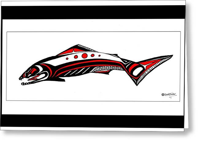 Smiling Salmon Greeting Card by Speakthunder Berry