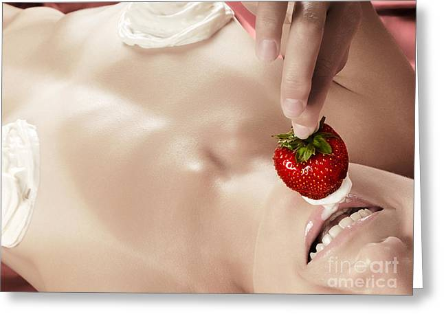 Satisfaction Greeting Cards - Smiling sexy nude woman eating strawberry with cream Greeting Card by Oleksiy Maksymenko
