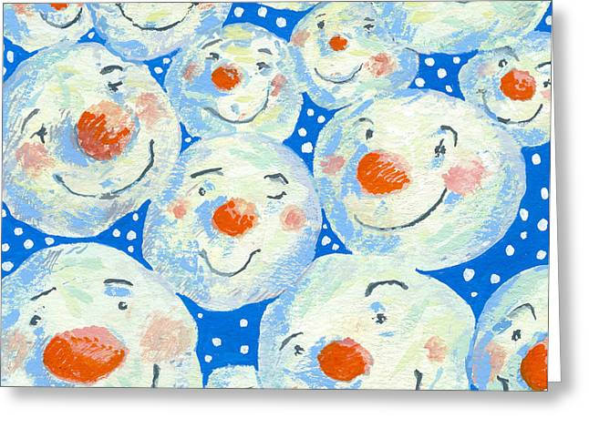 Smile Photographs Greeting Cards - Smiling Snowballs, 2011 Gouache On Paper Greeting Card by David Cooke