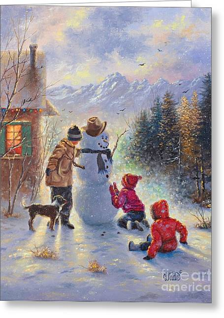 Dog In Snow Greeting Cards - Snowman Three Kids Greeting Card by Vickie Wade