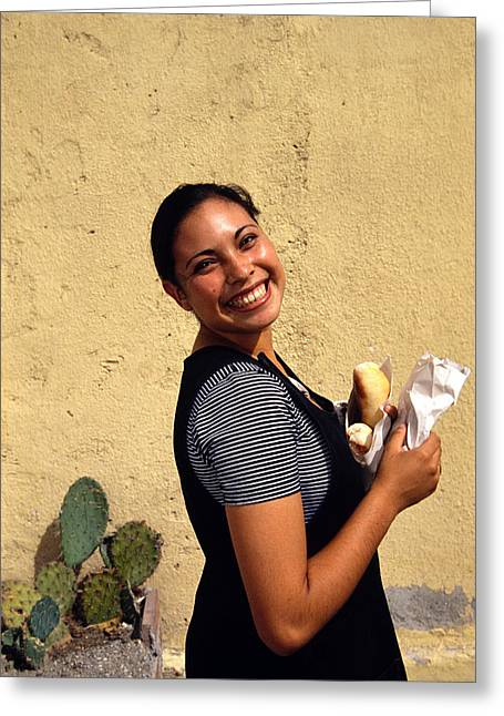 Smiling Woman Beauty Greeting Card by Mark Goebel