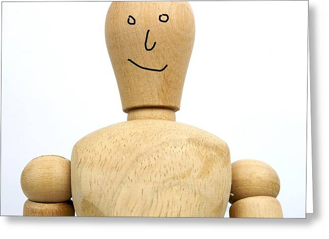 Cut-outs Greeting Cards - Smiling wooden figurine Greeting Card by Bernard Jaubert