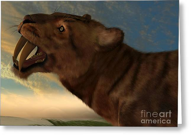Living Beings Greeting Cards - Smilodon Cat Greeting Card by Corey Ford