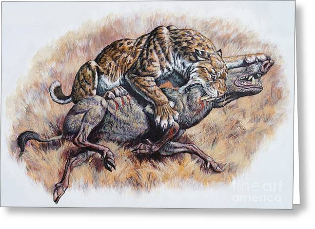 Sharp Claws Greeting Cards - Smilodon Dirk Sabertooth Killing Greeting Card by Mark Hallett