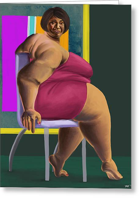 Magenta Dress Greeting Cards - Smirking Woman in Chair Greeting Card by David James