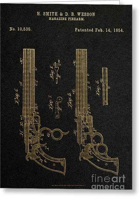 Gunmetal Greeting Cards - 1854 Smith and Wesson Magazine Firearm Patent Art 2 Greeting Card by Nishanth Gopinathan