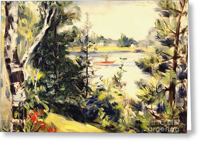 Mid West Landscape Art Greeting Cards - Smith Bayou - Spring Lake Michigan  1944 Greeting Card by Art By Tolpo Collection