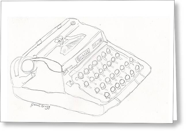 Typewriter Mixed Media Greeting Cards - Smith Corona Galaxie Deluxe Vintage Typewriter Sketch Greeting Card by Janel Bragg