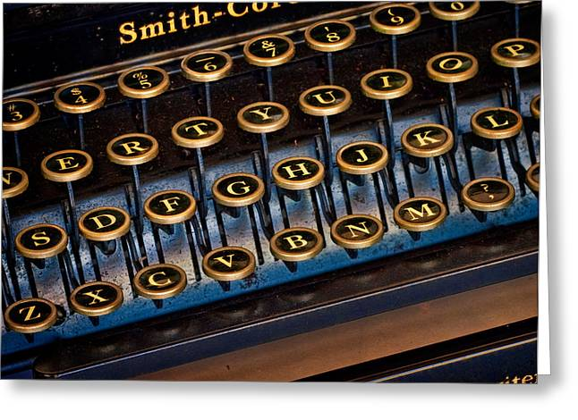 Smith Corona Vintage Typewriter Greeting Card by David and Carol Kelly