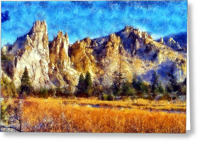 Rooster Cogburn Greeting Cards - Smith Rock Cliffs Greeting Card by Kaylee Mason