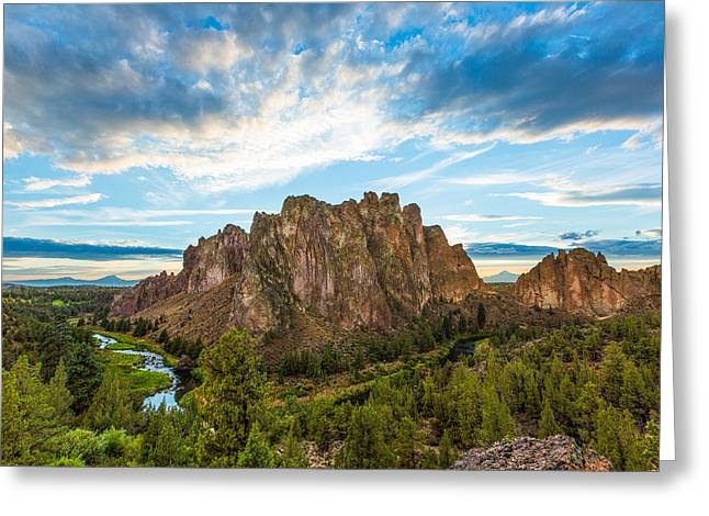 Deschutes Greeting Cards - Smith Rock Greeting Card by Patricia  Davidson