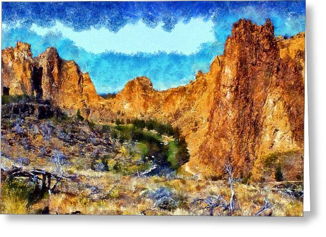 Rooster Cogburn Greeting Cards - Smith Rock State Park Greeting Card by Kaylee Mason