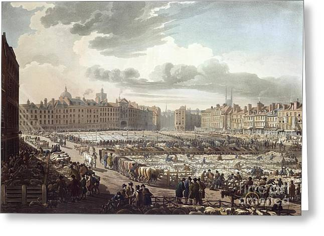 Rowlandson Greeting Cards - Smithfield Market, London, 1811 Greeting Card by British Library