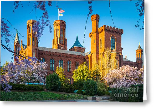 National Mall Greeting Cards - Smithsonian Castle Greeting Card by Inge Johnsson