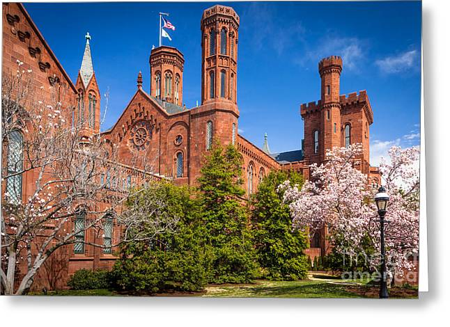 National Mall Greeting Cards - Smithsonian Castle Wall Greeting Card by Inge Johnsson