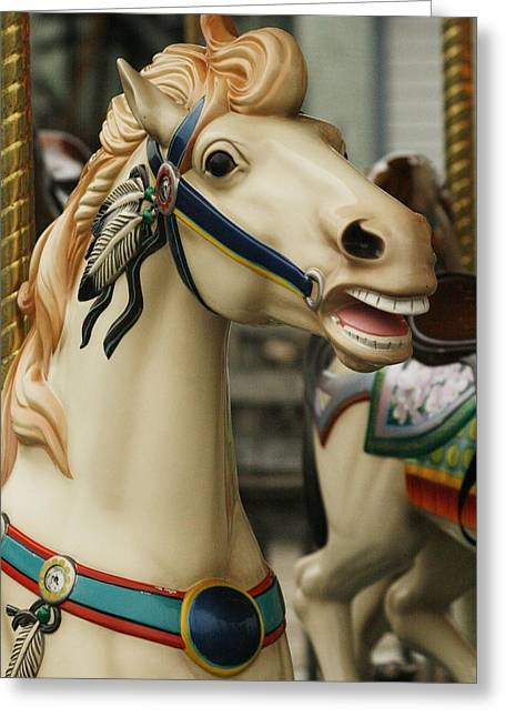 Amusements Greeting Cards - Smithville Carousel Horse II Greeting Card by Kristia Adams