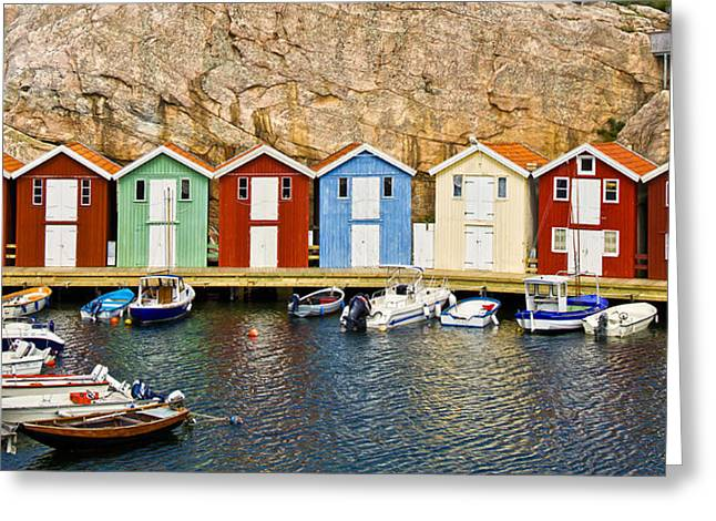 Boat Shed Greeting Cards - Smoegen Sweden Greeting Card by Lutz Baar