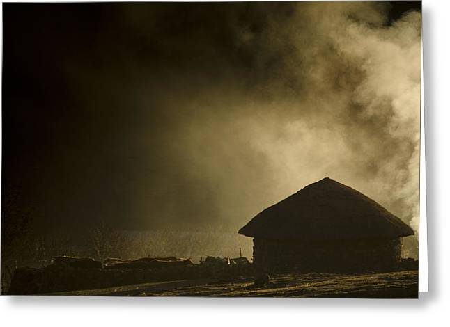 Hut Greeting Cards - Smoke and Darkness Greeting Card by Aaron S Bedell