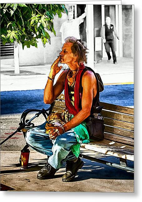 Smoke Break Greeting Card by John Haldane