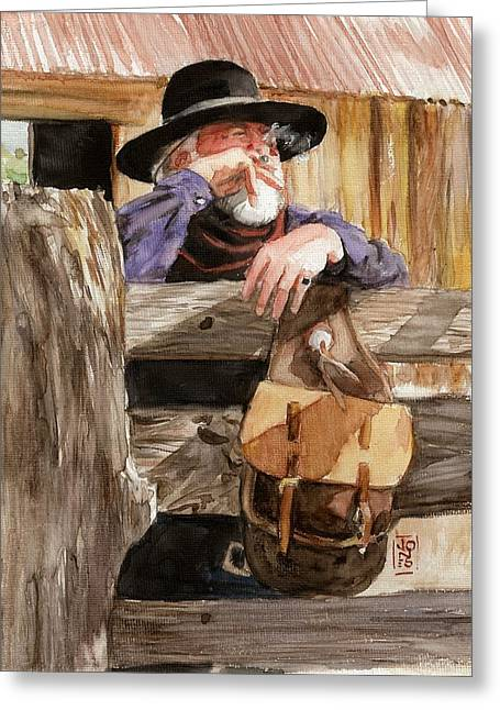 Arizona Cowboy Greeting Cards - Smoke Greeting Card by Debra Jones