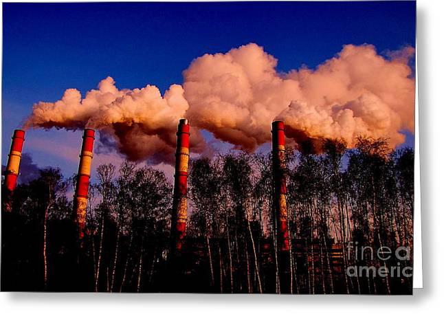 Smoke Pyrography Greeting Cards - Smoke from pipe Greeting Card by Yury Bashkin