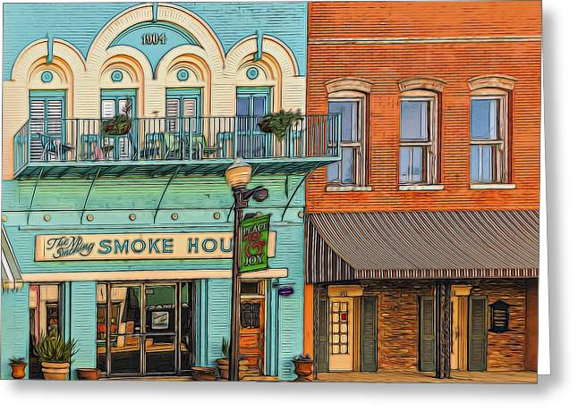 Grocery Store Greeting Cards - Smoke House Greeting Card by Maria Coulson