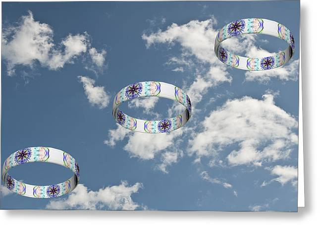 Smoking Trail Greeting Cards - Smoke Rings in the Sky 2 Greeting Card by Steve Purnell