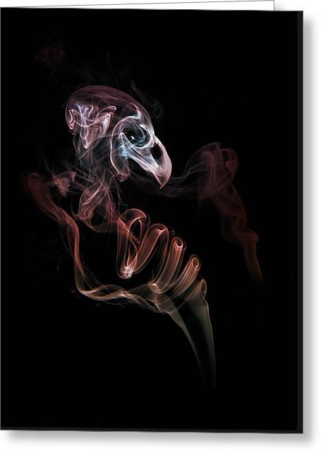 Smoke Skull Greeting Card by Jaroslaw Blaminsky