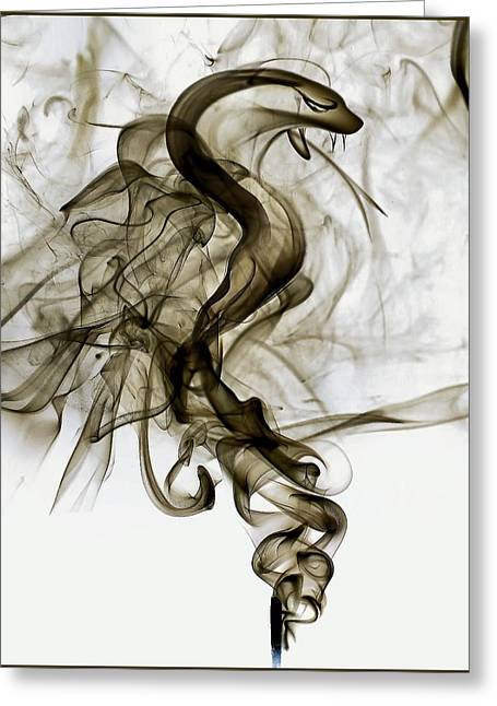 Creepy Pyrography Greeting Cards - Smoke Snake Greeting Card by Zhaark Strydom
