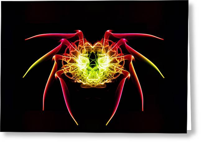Smoking Trail Greeting Cards - Smoke Spider Greeting Card by Steve Purnell