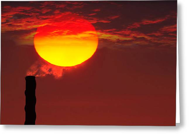 Environmental Concerns Greeting Cards - Smoke Stack In Sunset Greeting Card by Panoramic Images