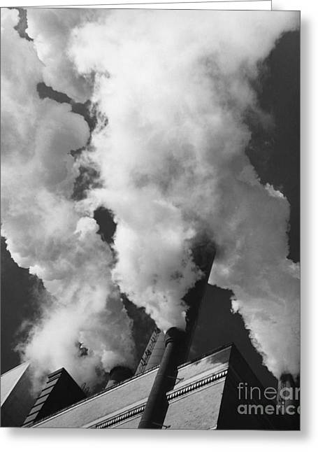 Edison Greeting Cards - Smoke Stacks Greeting Card by Bedrich Grunzweig