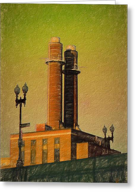 Stack Drawings Greeting Cards - Smoke Stacks near Bostons Back Bay Area Greeting Card by Global Village