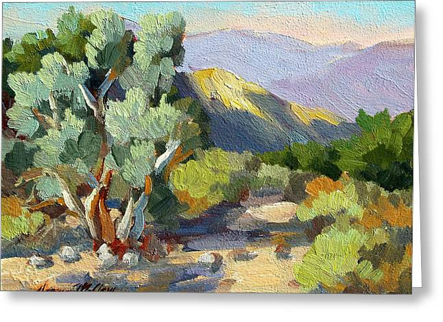 Desert Lake Paintings Greeting Cards - Smoke Trees At Thousand Palms Greeting Card by Diane McClary