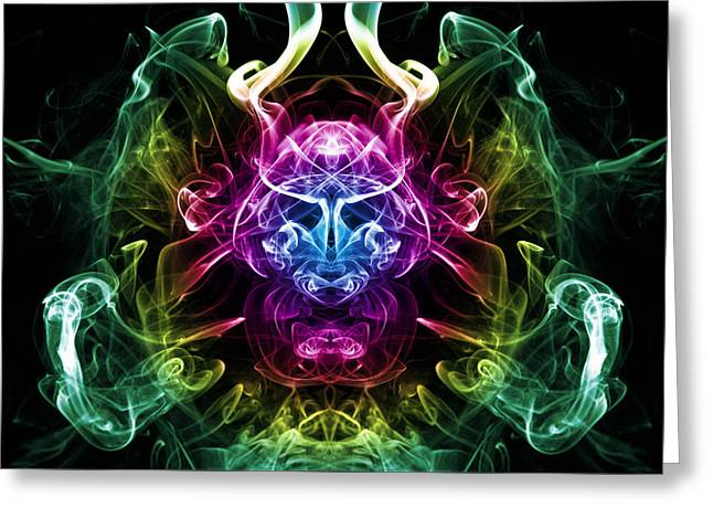 Smoke Warrior Greeting Card by Steve Purnell