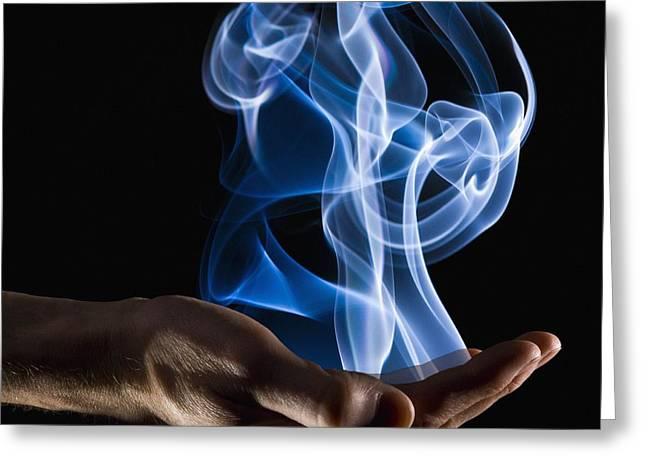 Visual Metaphor Greeting Cards - Smoke Wisps From A Hand Greeting Card by Corey Hochachka