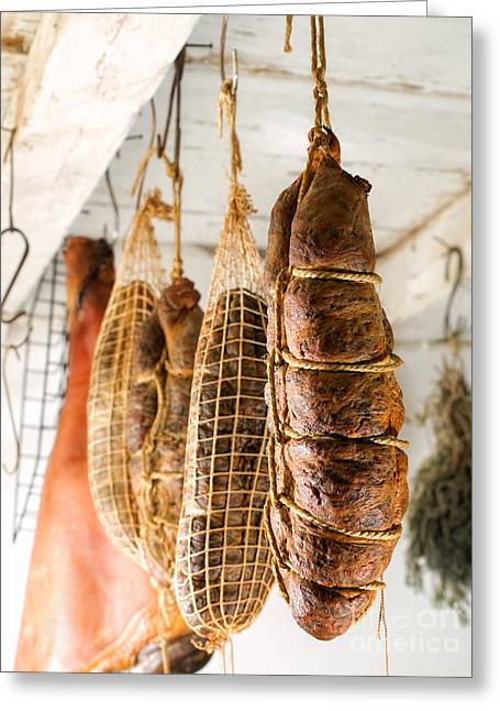 Delicatessen Meat Greeting Cards - Smoked meat Greeting Card by Sinisa Botas