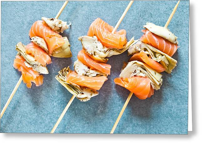 Smoked Salmon And Grilled Artichoke Greeting Card by Tom Gowanlock